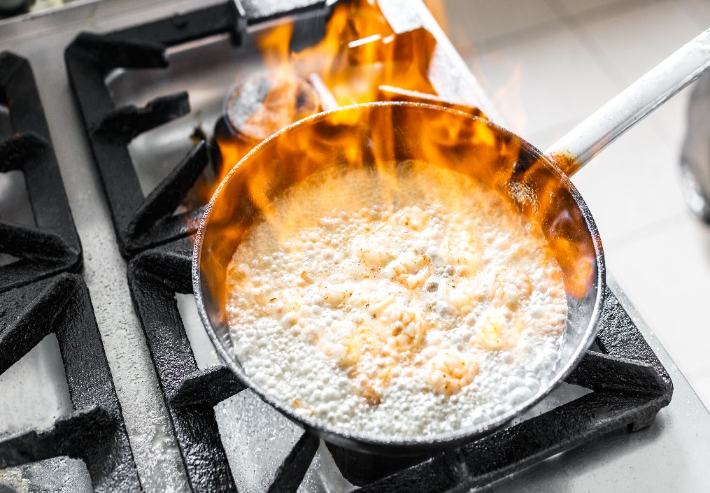 cooking fires can be tricky to extinguish,just remeber not to use water.